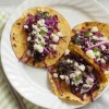 Black bean tacos with garlic red cabbage slaw