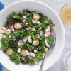 Simple Mediterranean Kale Salad with Golden Balsamic Vinaigrette