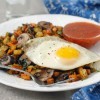 Two Potato Hash with Mushrooms and Fried Eggs