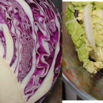 Double cabbage and peanut noodle salad