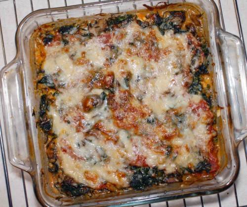 Ravioli Bake with Spinach and Mushrooms