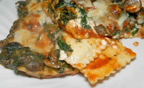 Spinach and Mushroom Ravioli Bake