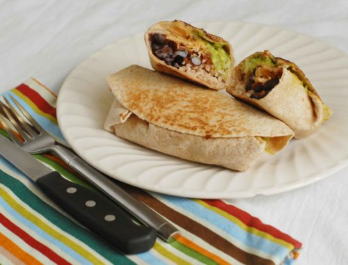 Black bean and Guacamole Burritos