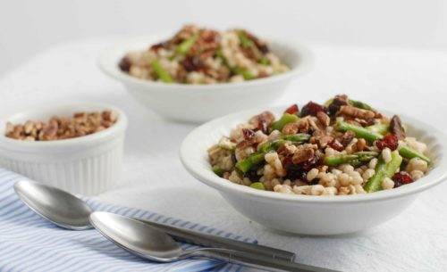 Balsamic Asparagus Barley Bowl for two