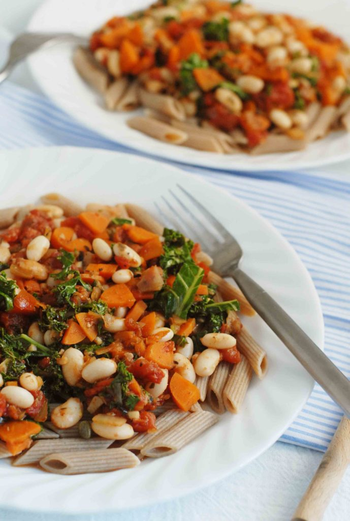 Carrot Kale and White Bean Ragu