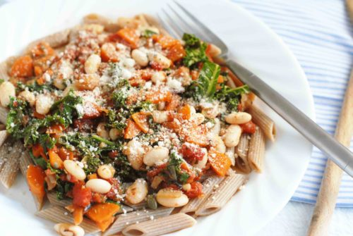 Carrot Kale and White Bean Ragu with Parmesan