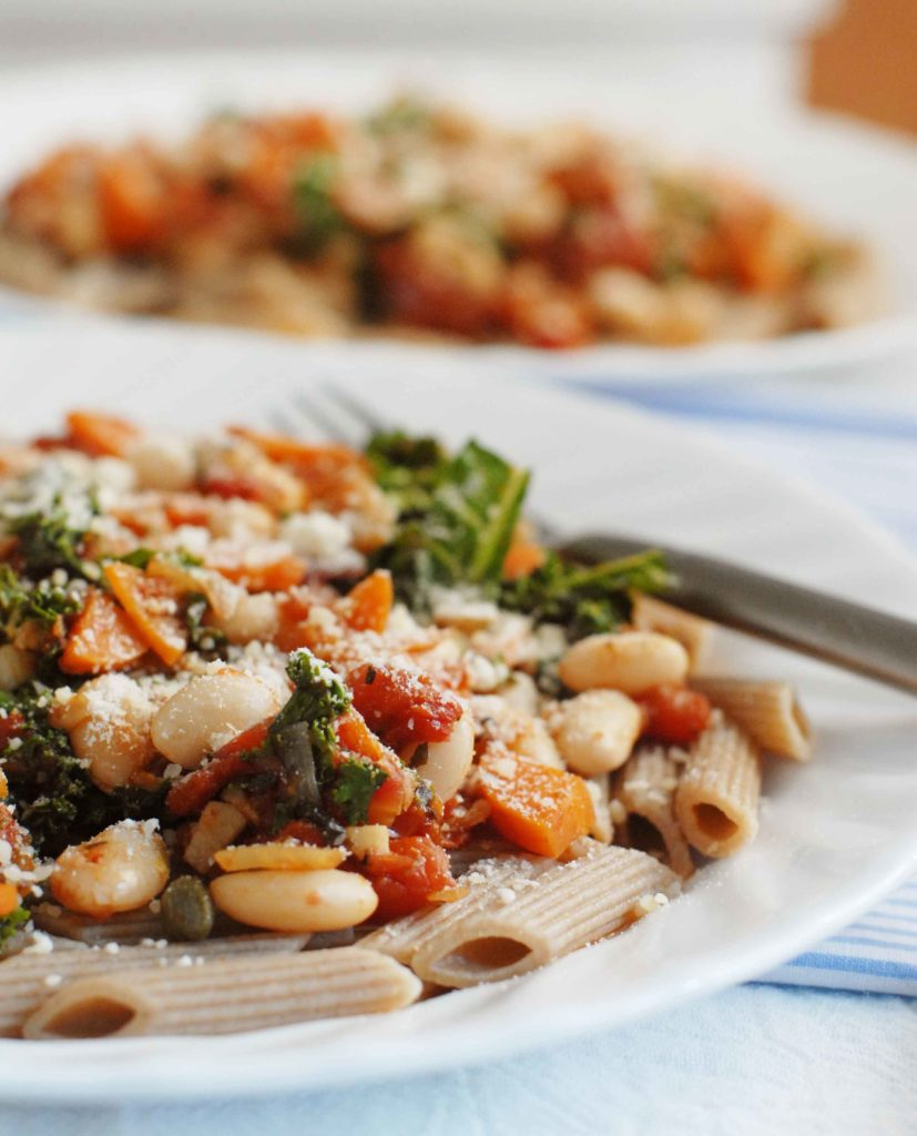 Carrot Kale and White Bean Ragu with Parmesan Cheese