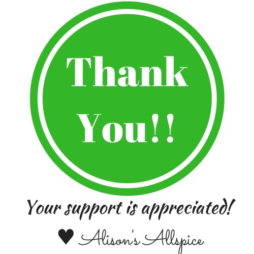 Thank You from Alison's Allspice!