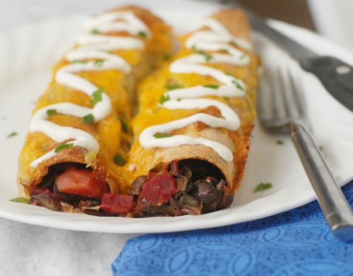 Black Bean Beet Enchiladas with Sour Cream
