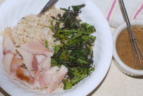 Mustard Greens and Smoked Trout Rice Bowl