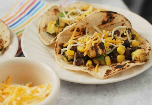 Grilled Zucchini Tacos with Black beans and Corn