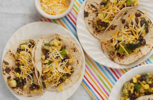Grilled Zucchini Black Bean and Corn Tacos