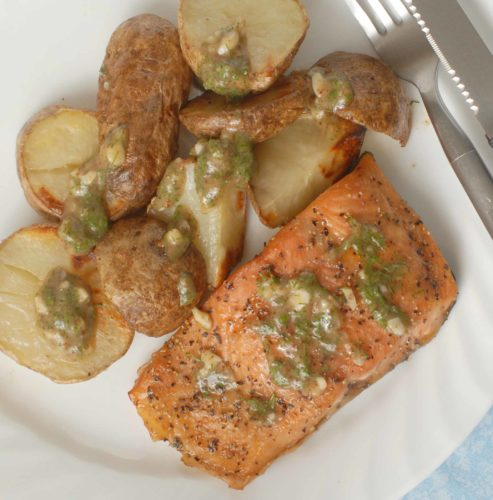Brown Sugar Salmon and Roasted Potatoes with Maple Mustard Dill Sauce
