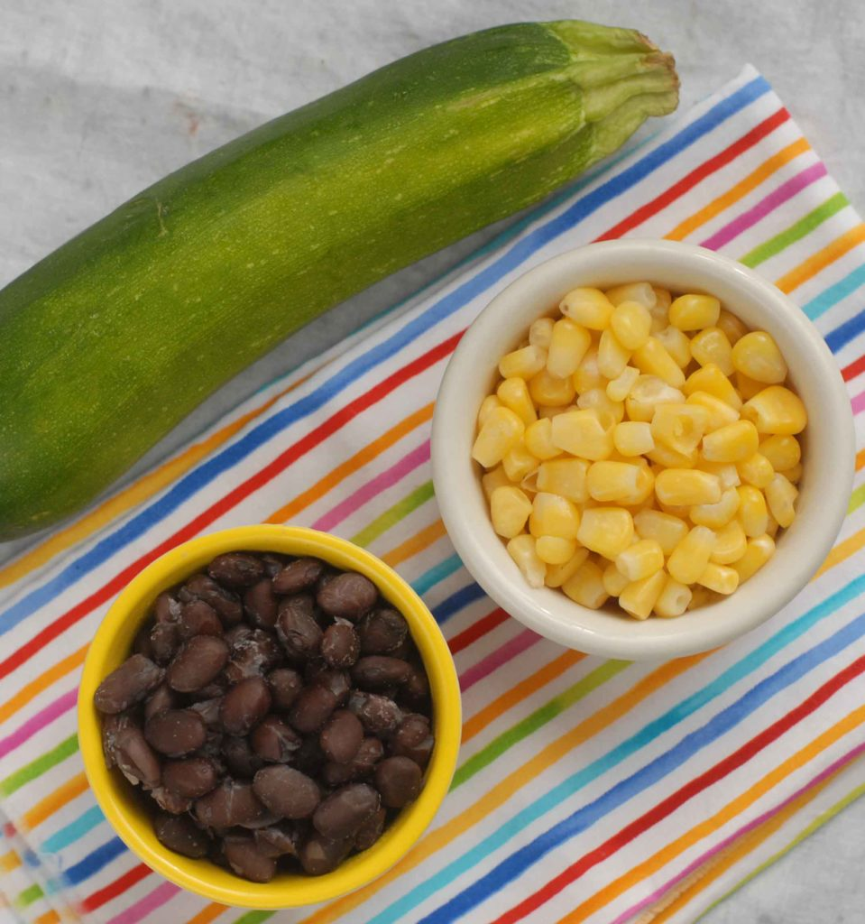 Zucchini Corn and Black beans