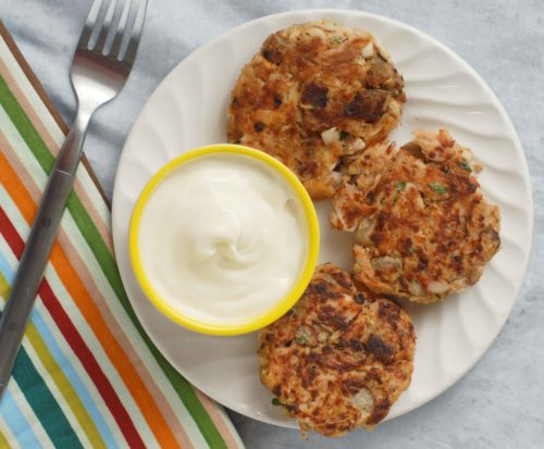 Smoked Trout Fish Cakes with Mayo