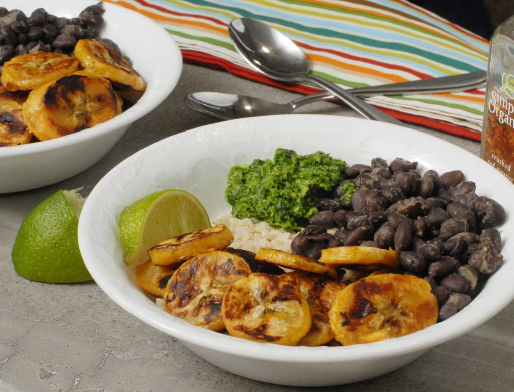 Plantain Black Bean Rice Bowl with Cilantro Pesto by Alison's Allspice