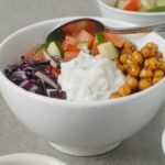 Fried Chickpea Gyro Bowls with Tzatziki Sauce