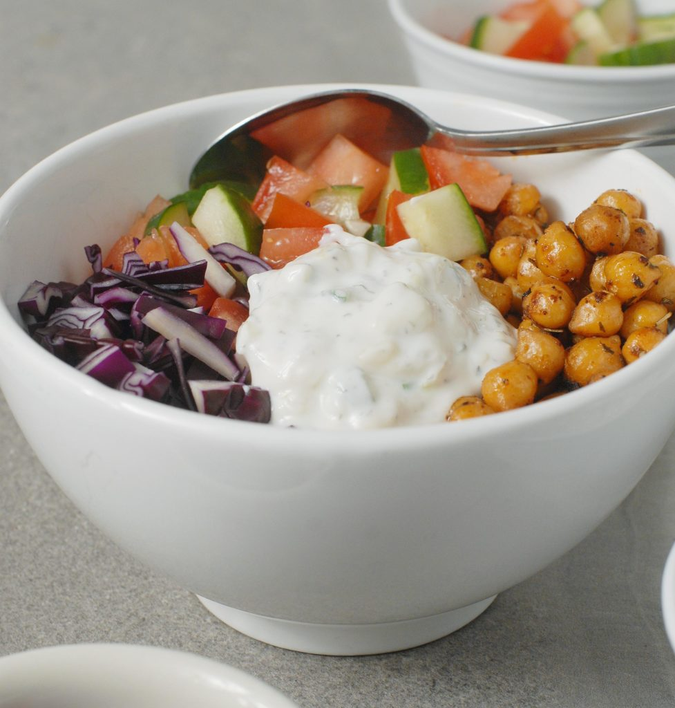 Fried Chickpea Gyro Bowls with Tzatziki Sauce By Alison's Allspice