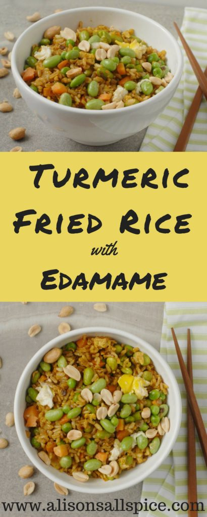 Increase your turmeric intake with my turmeric fried rice with edamame recipe! It is gluten free and easily vegan, a recipe every will enjoy!