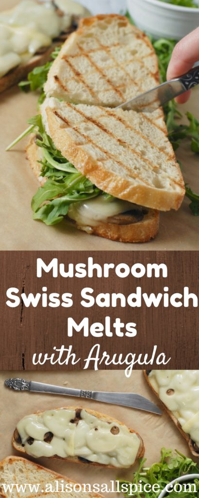 Enjoy a simple and light spring time meal with these Mushroom Swiss Sandwich Melts with Arugula.