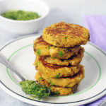 Samosa Potato and Chickpea Patties with Cilantro Chutney