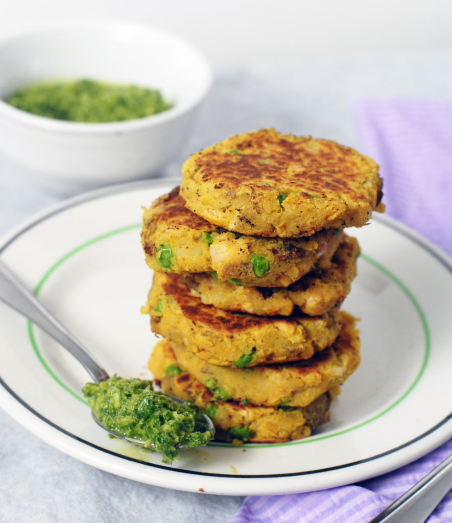 Samosa Potato and Chickpea Patties with Cilantro Chutney by Alison's Allspice