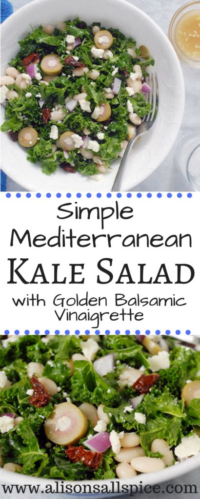 My Simple Mediterranean Kale Salad is perfect for spring using olives and sun-dried tomatoes. Try locally grown fresh tomatoes and cucumbers during summer!