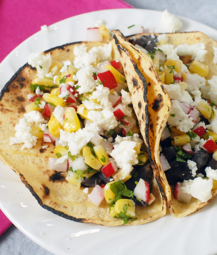 Black Bean Street Tacos with Radish Corn Salsa by Alison's Allspice