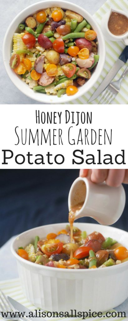This Honey Dijon Summer Garden Potato Salad is sure to please at your next summer picnic or backyard barbecue! It is easily vegan, paleo, and gluten free.