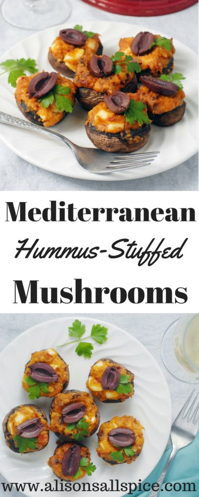 Try these vegetarian and gluten free Mediterranean hummus stuffed mushrooms as an appetizer for your next gathering, picnic or potluck! #AD