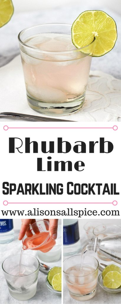 This fresh summer sipper combines rhubarb and lime for a refreshing drink. Rhubarb lime sparkling cocktail is a fun and exciting way to enjoy tart rhubarb!