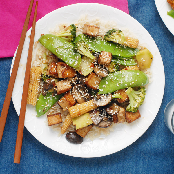 Early Summer Vegetable Stir Fry with Crispy Tofu by Alison's Allspice