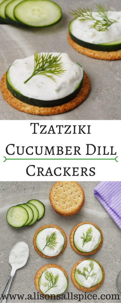 #ad These crackers make a great appetizer or snack! Tzatziki keeps well in the fridge, so you can whip them up in a moments notice!