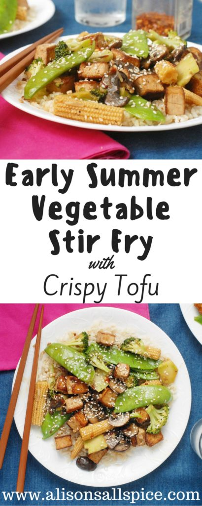 This early summer vegetable stir fry with crispy tofu is a delicious way to enjoy your vegetables. Pan fry the tofu in an over-sized pan to make it crispy!