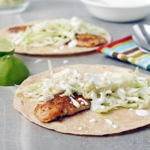 Spicy Blackened Fish Tacos with Lime Crema by Alison's Allspice
