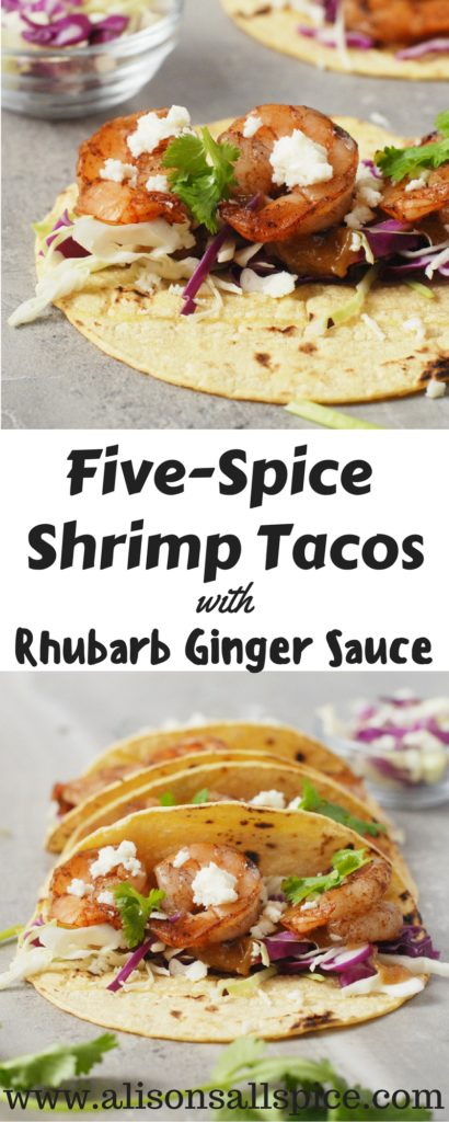 My five spice shrimp tacos with rhubarb ginger sauce are an amazing twist between Asian and Mexican cuisines! Try them on your next taco Tuesday!