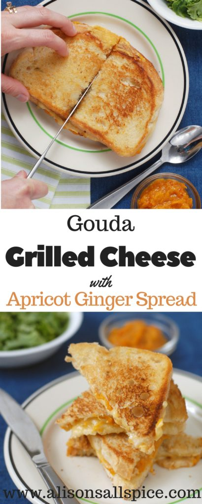 #ad Gouda grilled cheese with apricot ginger spread is a splurge worthy meal that is simple, convenient, and easy to make. Try it on sourdough bread!