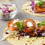 Five Spice Shrimp Tacos with Rhubarb Ginger Sauce