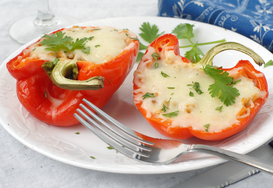 Spicy Hummus and Veggie Stuffed Peppers by Alison's Allspice