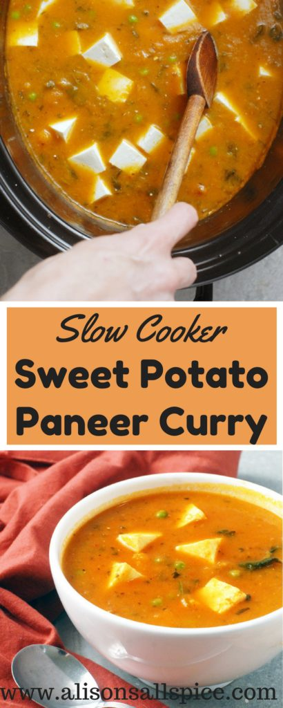 Try using whole toasted spices in this easy to follow slow cooker sweet potato paneer curry recipe!