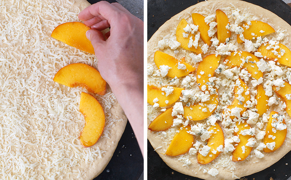 Peach Basil Pizza with Balsamic Drizzle by Alison's Allspice