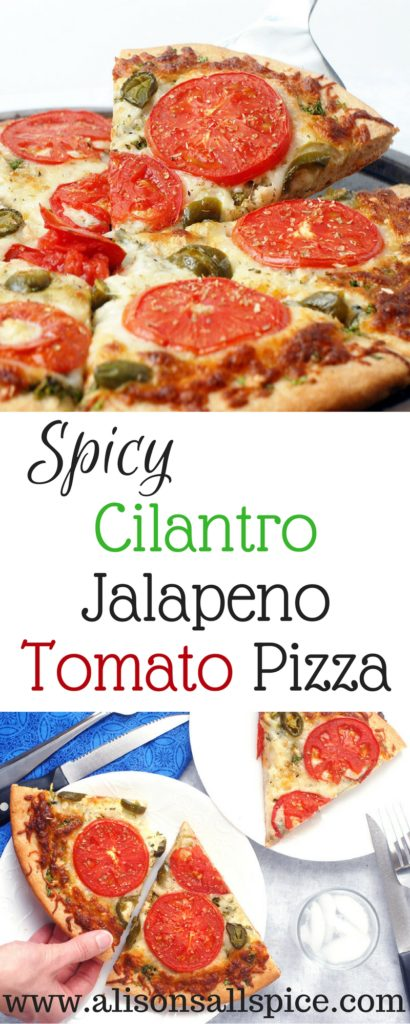 Take pizza night to a whole new level with a spicy cilantro jalapeno tomato pizza!  This veggie pizza is like no other, you'll wish you had a second pizza!