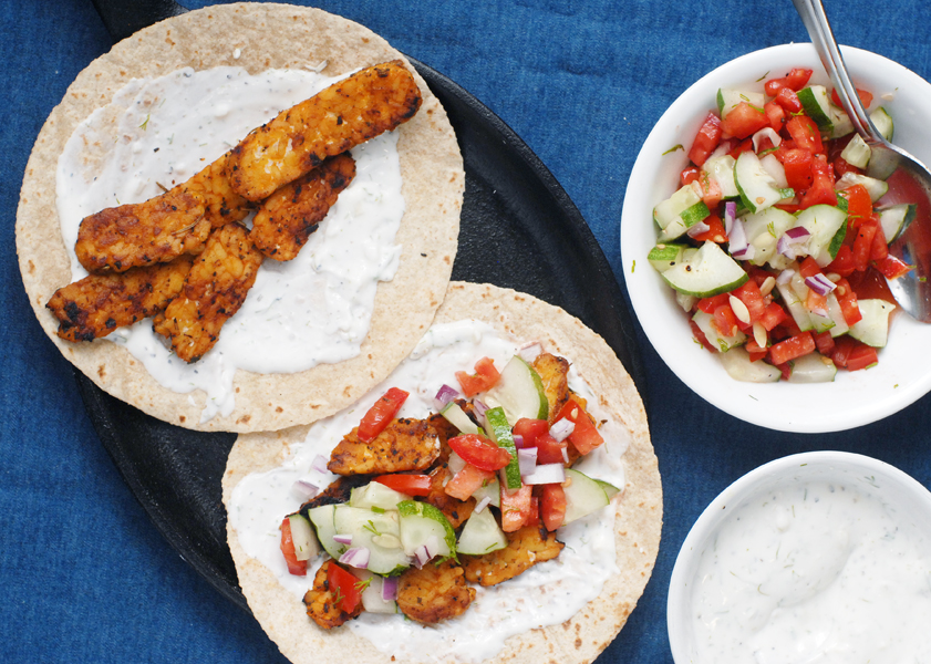 Tempeh Gyro Tacos with Cucumber Salsa by Alison's Allspice