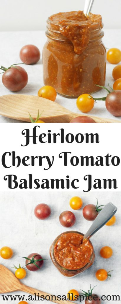 This heirloom cherry tomato balsamic jam is going to be your new favorite summer condiment!  Try it on a grilled cheese sandwich or toss with pasta!