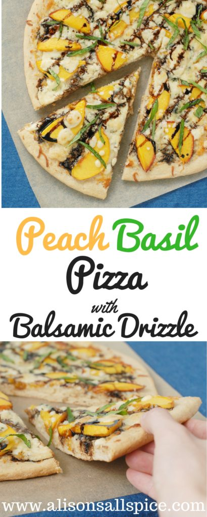 This peach basil pizza with balsamic drizzle is with loaded with summer flavors!  Try it on a whole wheat crust with Gorgonzola cheese!