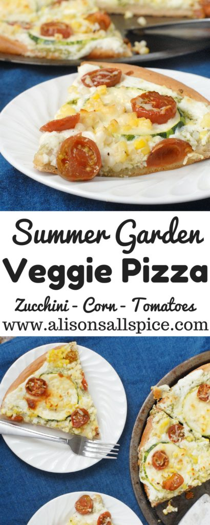 This summer garden veggie pizza is topped with fresh zucchini, tomatoes, and sweet corn. It is a light and refreshing take on pizza!