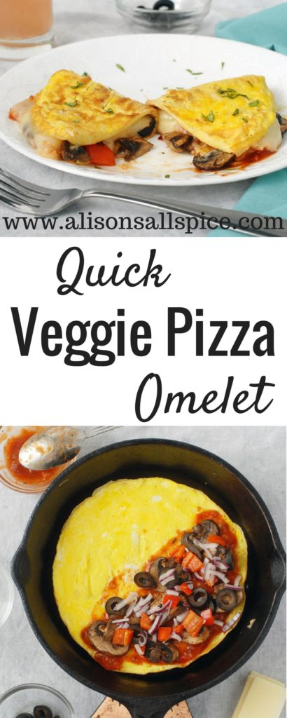 Try my quick veggie pizza omelet for breakfast or dinner! It takes less than 20 minutes, so it's perfect for a quick dinner or a protein packed breakfast!