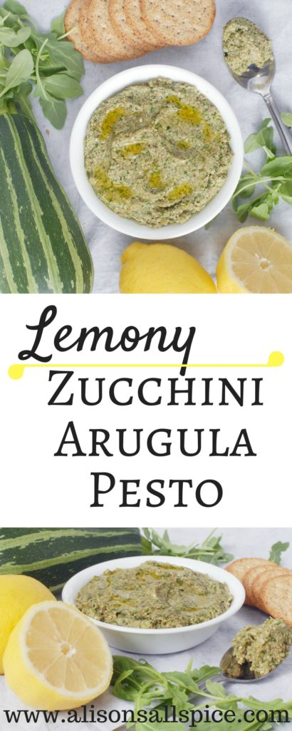 Lemony zucchini arugula pesto is a great refreshing way to use up your garden zucchinis!  Try the pesto as a dip or a sandwich spread.