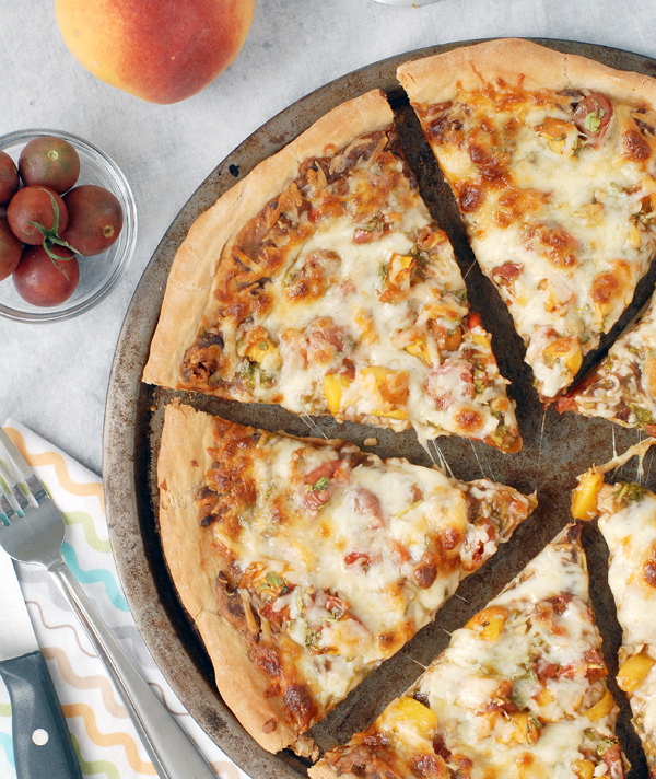 Barbecue Black Bean and Peach Salsa Pizza by Alison's Allspice