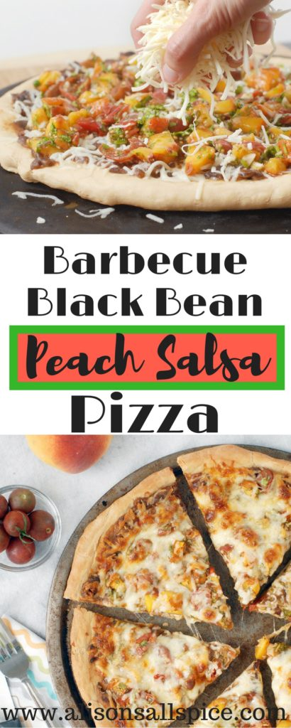 My barbecue black bean and peach salsa pizza might sound insane, but I'm telling you it's crazy good! It's a must try for anyone looking for something new!